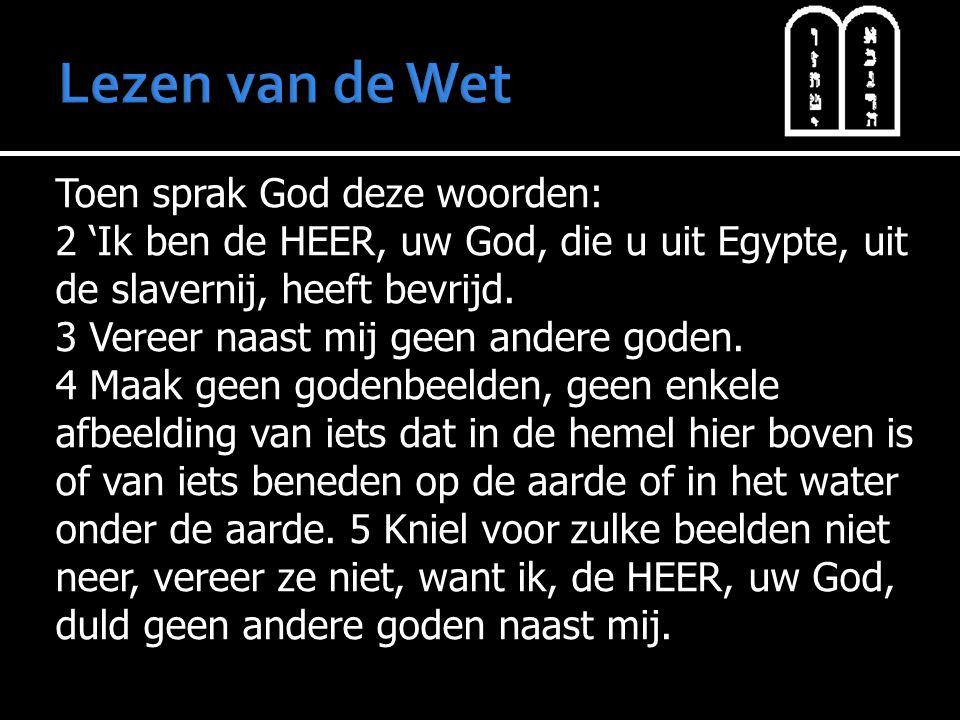 Toen sprak God deze woorden: 2 'Ik ben de HEER, uw God, die u uit Egypte, uit de slavernij, heeft bevrijd. 3 Vereer naast mij geen andere goden. 4 Maa