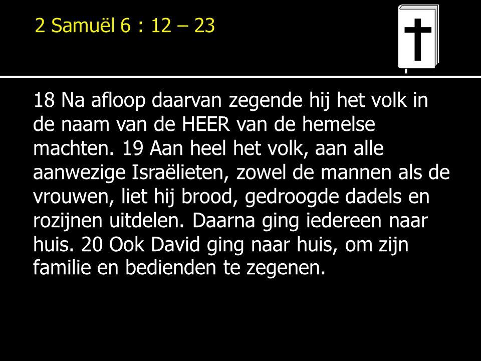 18 Na afloop daarvan zegende hij het volk in de naam van de HEER van de hemelse machten. 19 Aan heel het volk, aan alle aanwezige Israëlieten, zowel d