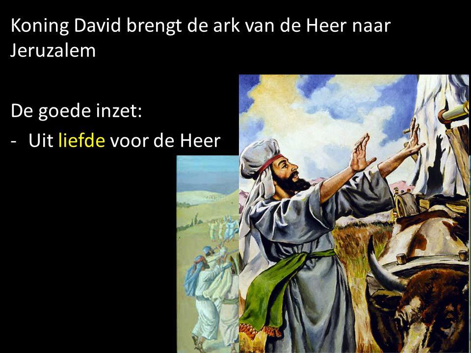 Koning David brengt de ark van de Heer naar Jeruzalem De goede inzet: -Uit liefde voor de Heer