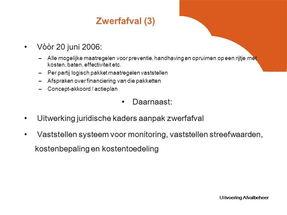Uitvoering Afvalbeheer Zwerfafval (3) Vòòr 20 juni 2006: –Alle mogelijke maatregelen voor preventie, handhaving en opruimen op een rijtje met kosten, baten, effectiviteit etc.