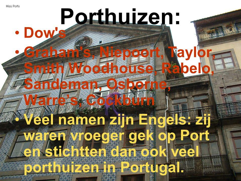 Porthuizen: Dow's Graham's, Niepoort, Taylor, Smith Woodhouse, Rabelo, Sandeman, Osborne, Warre's, Cockburn Veel namen zijn Engels: zij waren vroeger