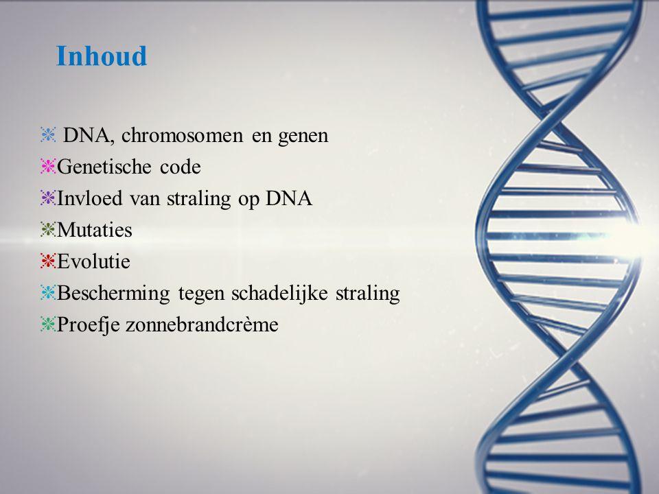 Inhoud ❈ DNA, chromosomen en genen ❈ Genetische code ❈ Invloed van straling op DNA ❈ Mutaties ❈ Evolutie ❈ Bescherming tegen schadelijke straling ❈ Pr