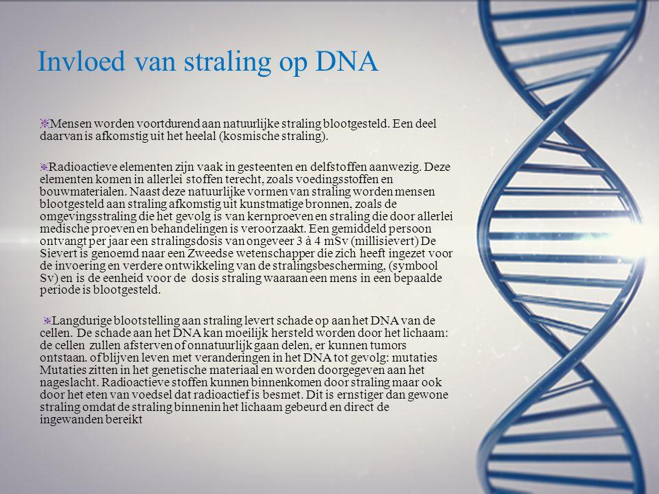 Invloed van straling op DNA ❈ Mensen worden voortdurend aan natuurlijke straling blootgesteld. Een deel daarvan is afkomstig uit het heelal (kosmische