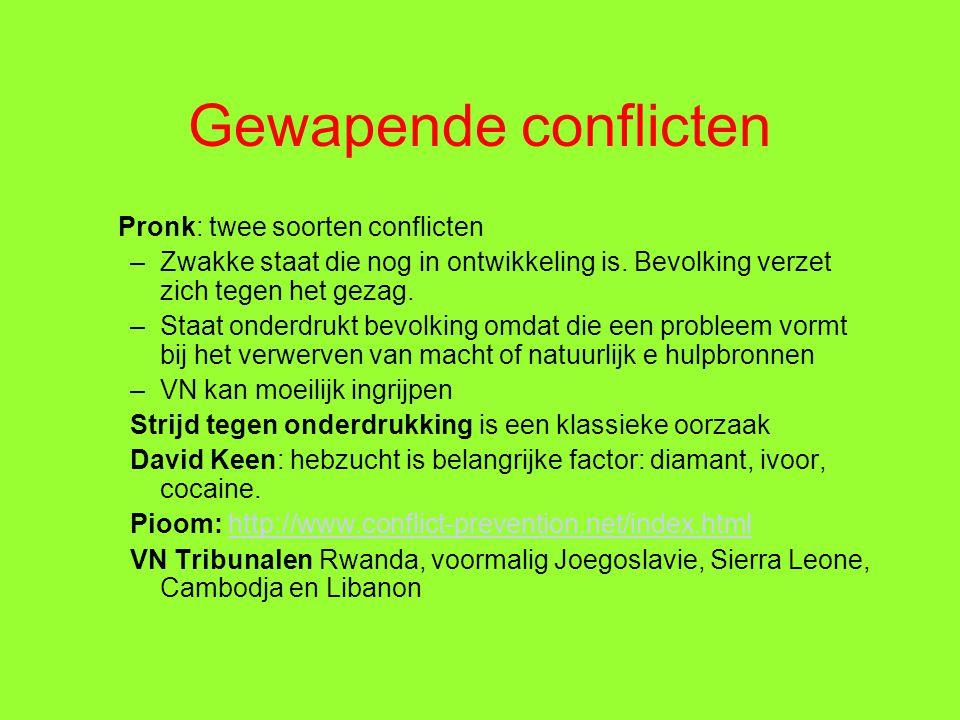 Gewapende conflicten Pronk: twee soorten conflicten –Zwakke staat die nog in ontwikkeling is.