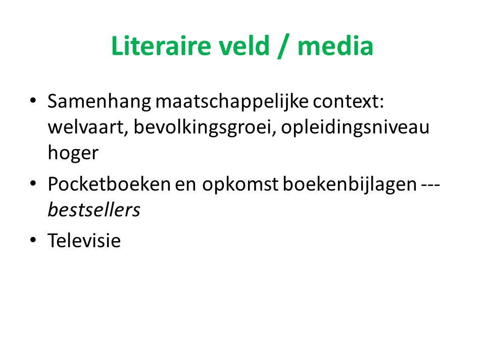 Literaire veld / media Samenhang maatschappelijke context: welvaart, bevolkingsgroei, opleidingsniveau hoger Pocketboeken en opkomst boekenbijlagen --