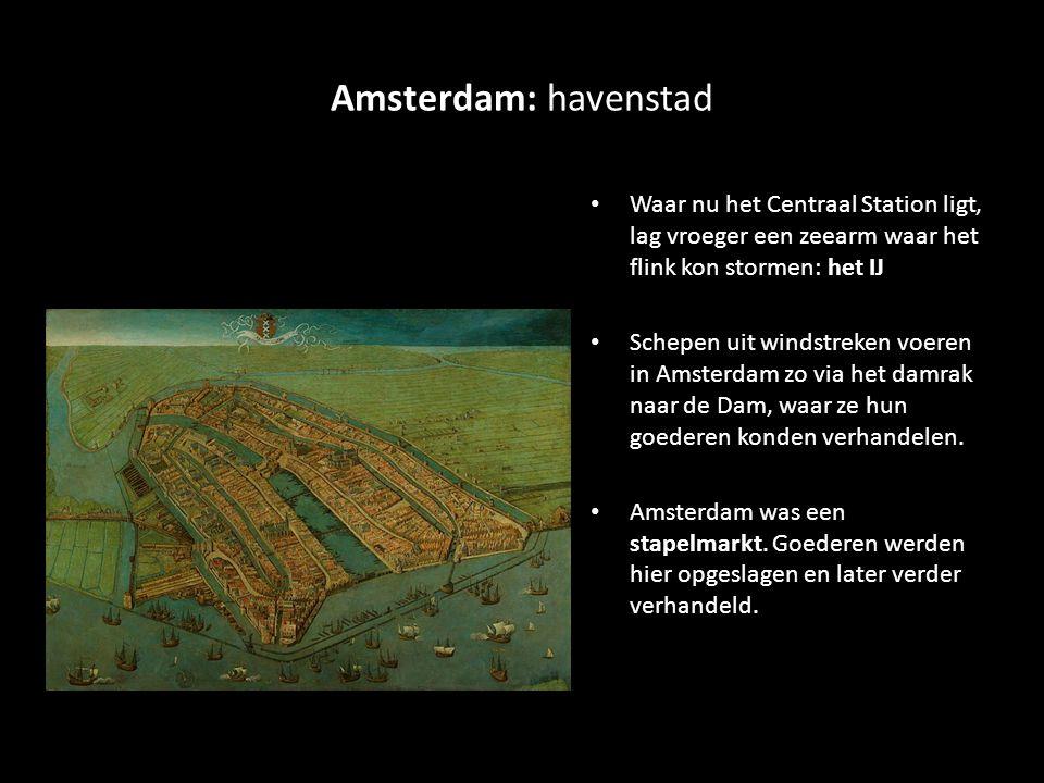 Amsterdam: havenstad Waar nu het Centraal Station ligt, lag vroeger een zeearm waar het flink kon stormen: het IJ Schepen uit windstreken voeren in Amsterdam zo via het damrak naar de Dam, waar ze hun goederen konden verhandelen.