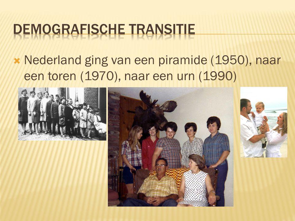  Nederland ging van een piramide (1950), naar een toren (1970), naar een urn (1990)