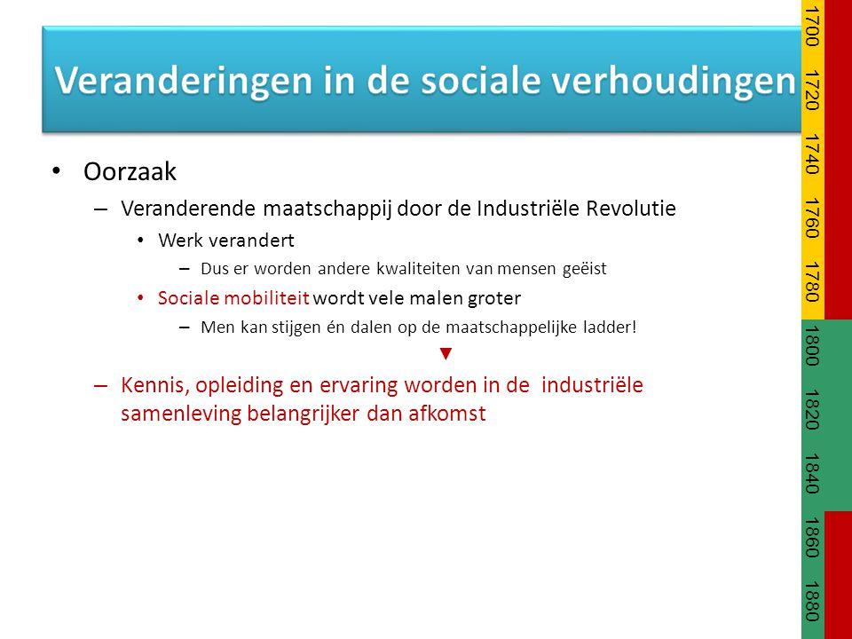 Oorzaak – Veranderende maatschappij door de Industriële Revolutie Werk verandert – Dus er worden andere kwaliteiten van mensen geëist Sociale mobilite