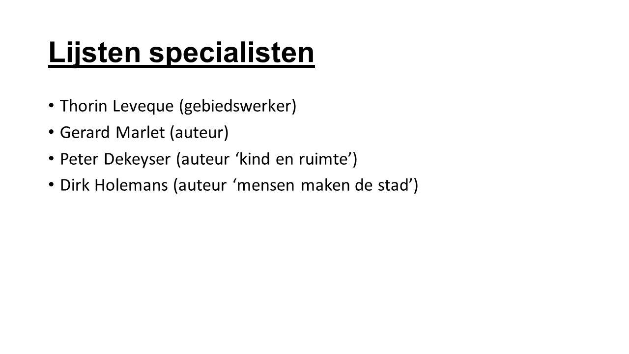 Lijsten specialisten Thorin Leveque (gebiedswerker) Gerard Marlet (auteur) Peter Dekeyser (auteur 'kind en ruimte') Dirk Holemans (auteur 'mensen make