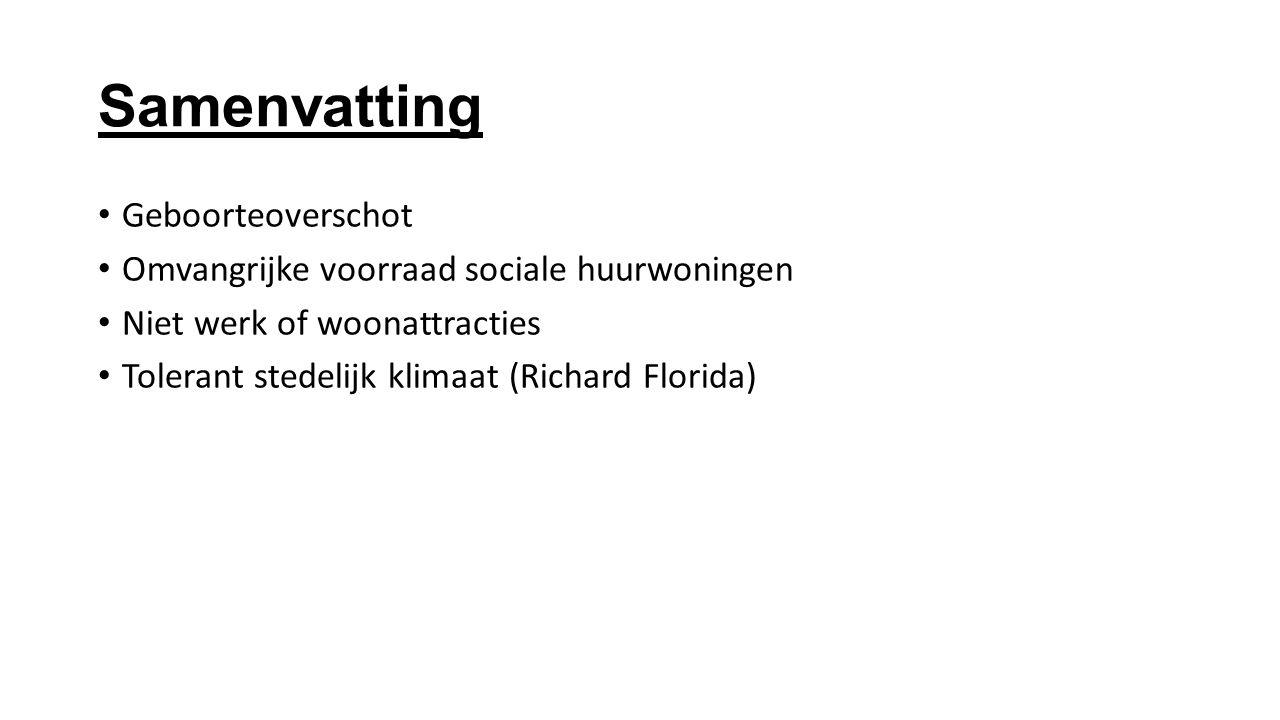 Samenvatting Geboorteoverschot Omvangrijke voorraad sociale huurwoningen Niet werk of woonattracties Tolerant stedelijk klimaat (Richard Florida)