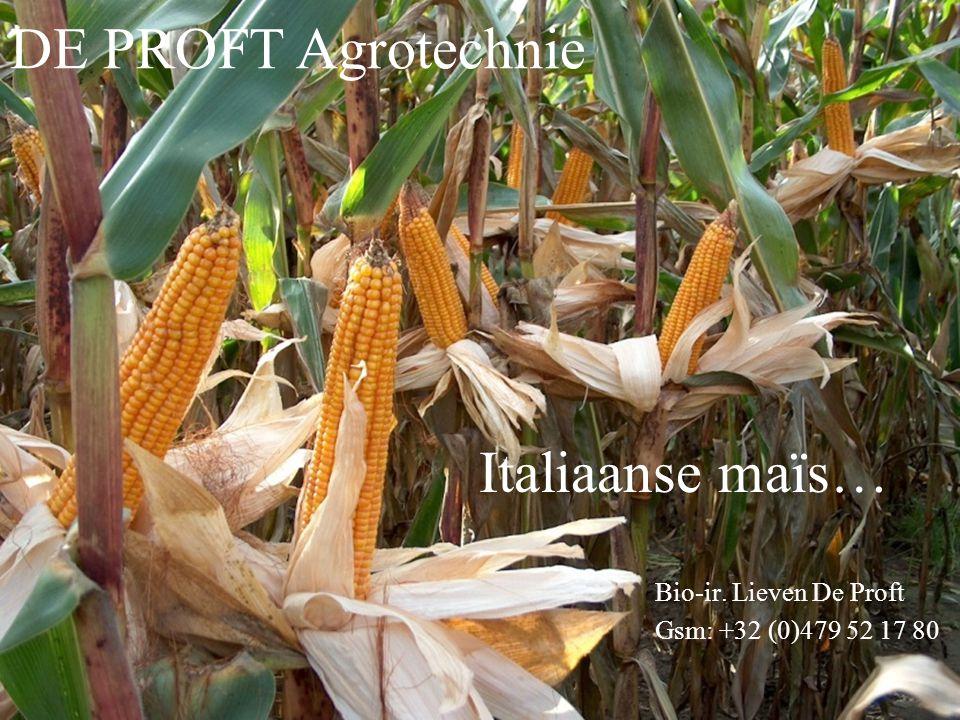 Bio-ir. Lieven De Proft Gsm: +32 (0)479 52 17 80 Italiaanse maïs… DE PROFT Agrotechnie