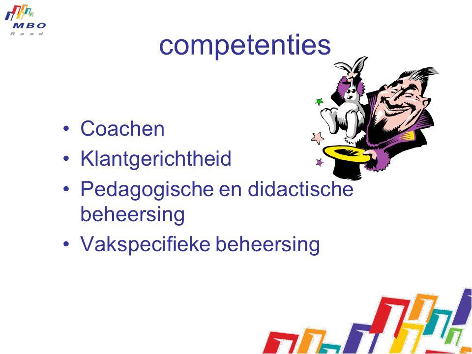 competenties Coachen Klantgerichtheid Pedagogische en didactische beheersing Vakspecifieke beheersing