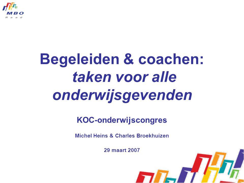 Begeleiden & coachen: taken voor alle onderwijsgevenden KOC-onderwijscongres Michel Heins & Charles Broekhuizen 29 maart 2007