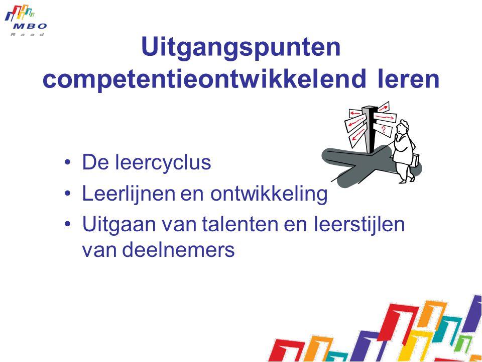 Uitgangspunten competentieontwikkelend leren De leercyclus Leerlijnen en ontwikkeling Uitgaan van talenten en leerstijlen van deelnemers