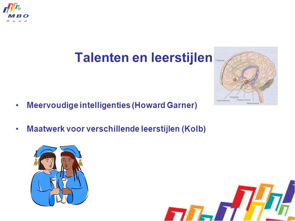 Talenten en leerstijlen Meervoudige intelligenties (Howard Garner) Maatwerk voor verschillende leerstijlen (Kolb)
