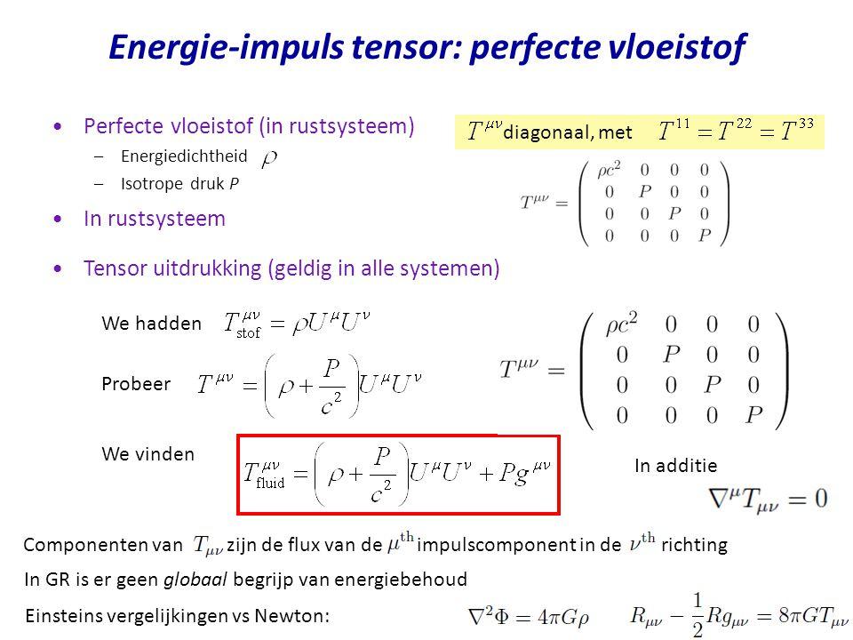 Perfecte vloeistof (in rustsysteem) –Energiedichtheid –Isotrope druk P diagonaal, met Tensor uitdrukking (geldig in alle systemen) We hadden Probeer We vinden In additie Energie-impuls tensor: perfecte vloeistof In rustsysteem Componenten van zijn de flux van de impulscomponent in de richting In GR is er geen globaal begrijp van energiebehoud Einsteins vergelijkingen vs Newton: