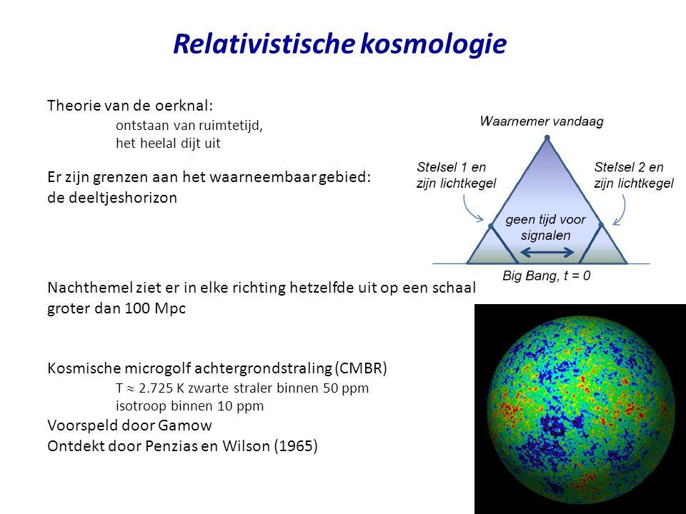 Relativistische kosmologie Theorie van de oerknal: ontstaan van ruimtetijd, het heelal dijt uit Er zijn grenzen aan het waarneembaar gebied: de deeltjeshorizon Nachthemel ziet er in elke richting hetzelfde uit op een schaal groter dan 100 Mpc Kosmische microgolf achtergrondstraling (CMBR) T  2.725 K zwarte straler binnen 50 ppm isotroop binnen 10 ppm Voorspeld door Gamow Ontdekt door Penzias en Wilson (1965)