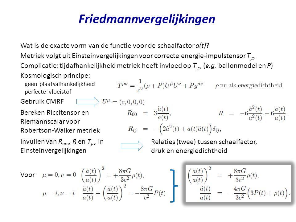 Oerknal en friedmannvergelijkingen Dichtheid en druk zijn positieve grootheden (voor ons bekende materie en velden) Dan negatief volgens Uitdijingssnelheid neemt af in de tijd Volgens experiment,, dijt heelal nu uit Schaalfactor heeft ooit de waarde nul aangenomen Friedmannvergelijkingen voorspellen alle materie en energie ooit opgesloten in volume V = 0 ruimtetijd is begonnen als singulariteit met oneindige energiedichtheid generieke conclusie voor alle oplossingen van friedmannvergelijkingen Leeftijd van het heelal helling Leeftijd van het heelal < 15 Gjaar