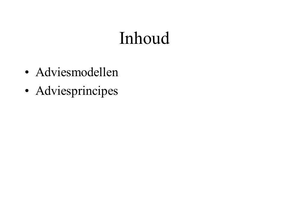 Inhoud Adviesmodellen Adviesprincipes