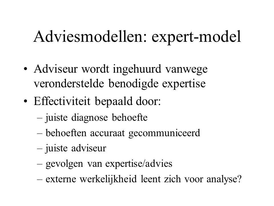 Adviesmodellen: expert-model Adviseur wordt ingehuurd vanwege veronderstelde benodigde expertise Effectiviteit bepaald door: –juiste diagnose behoefte