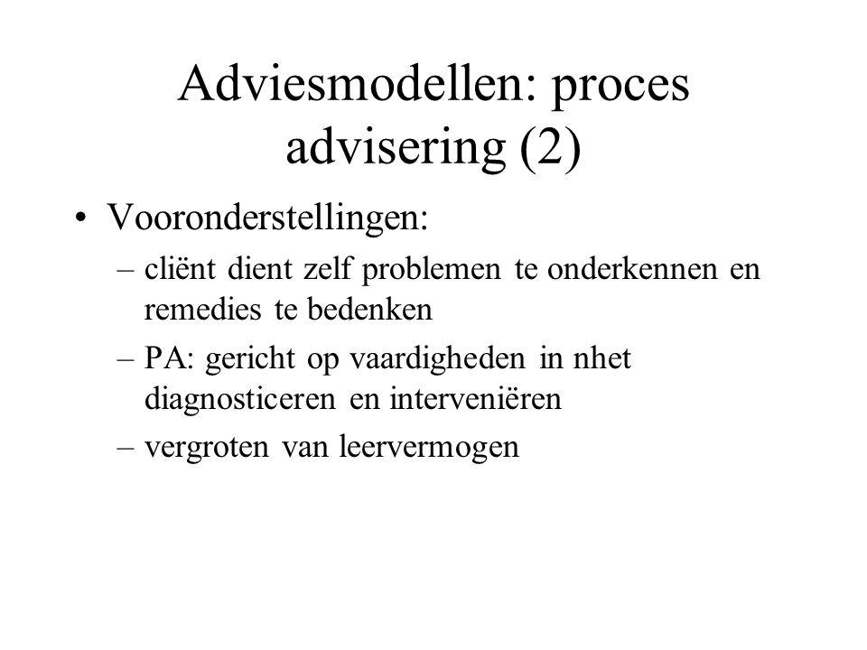 PA: creëren van relatie met cliënt die het mogelijk maakt potentiële problemen te onderkennen, te begrijpen en ernaar te handelen Adviesmodellen: proces advisering (3)