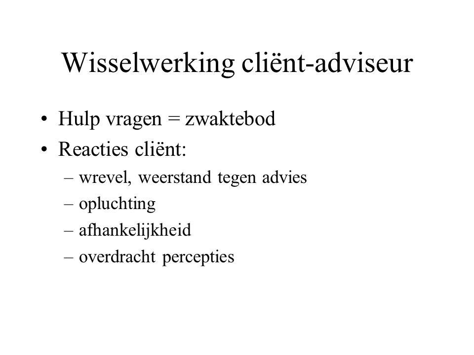 Wisselwerking cliënt-adviseur Hulp vragen = zwaktebod Reacties cliënt: –wrevel, weerstand tegen advies –opluchting –afhankelijkheid –overdracht percep