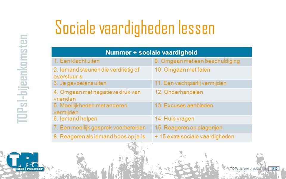 TOPs! is een product van Sociale vaardigheden lessen TOPs!-bijeenkomsten Nummer + sociale vaardigheid 1. Een klacht uiten9. Omgaan met een beschuldigi
