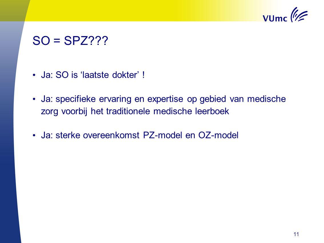 SO = SPZ??? Ja: SO is 'laatste dokter' ! Ja: specifieke ervaring en expertise op gebied van medische zorg voorbij het traditionele medische leerboek J