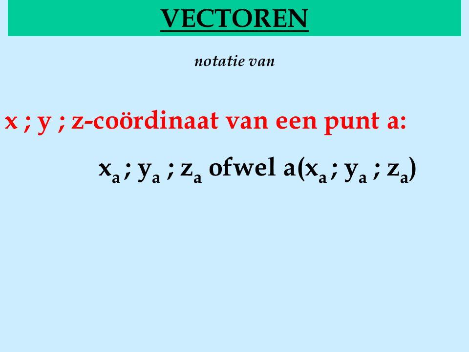 notatie van VECTOREN x ; y ; z-coördinaat van een punt a: x a ; y a ; z a ofwel a(x a ; y a ; z a )