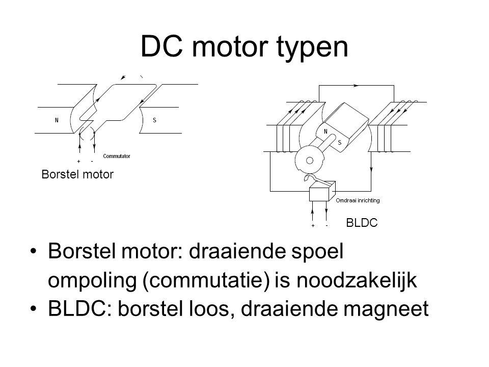 DC motor typen Borstel motor: draaiende spoel ompoling (commutatie) is noodzakelijk BLDC: borstel loos, draaiende magneet Borstel motor BLDC