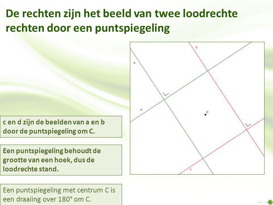 De rechten zijn het beeld van twee loodrechte rechten door een puntspiegeling c en d zijn de beelden van a en b door de puntspiegeling om C. Een punts