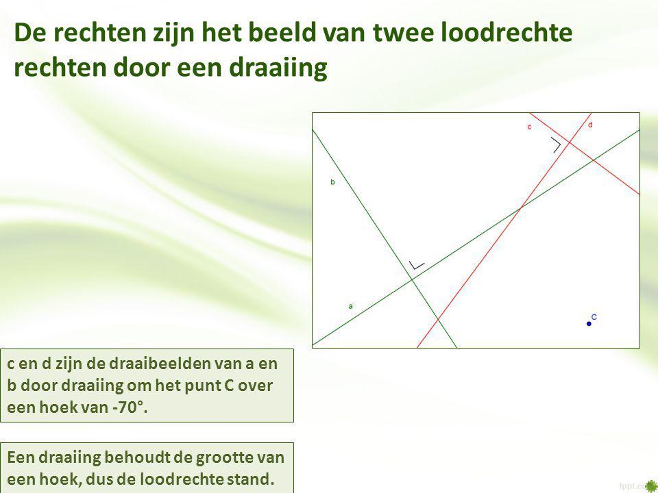 De rechten zijn het beeld van twee loodrechte rechten door een draaiing c en d zijn de draaibeelden van a en b door draaiing om het punt C over een hoek van -70°.