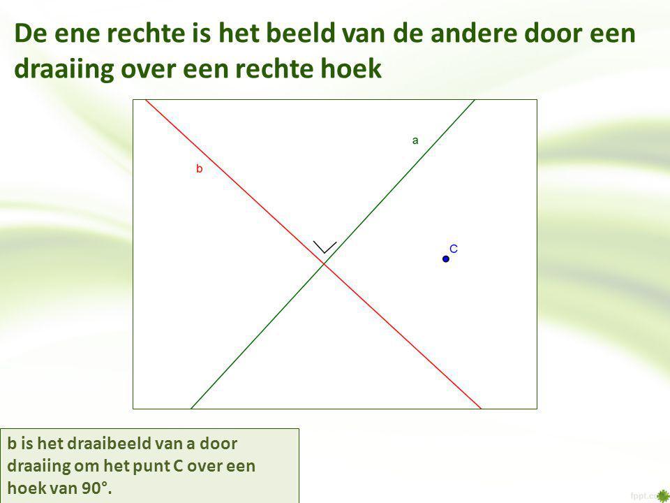 De ene rechte is het beeld van de andere door een draaiing over een rechte hoek b is het draaibeeld van a door draaiing om het punt C over een hoek van 90°.
