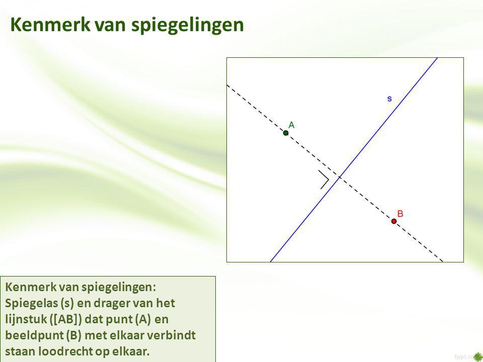 Kenmerk van spiegelingen Kenmerk van spiegelingen: Spiegelas (s) en drager van het lijnstuk ([AB]) dat punt (A) en beeldpunt (B) met elkaar verbindt staan loodrecht op elkaar.