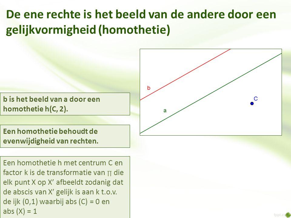 De ene rechte is het beeld van de andere door een gelijkvormigheid (homothetie) Een homothetie h met centrum C en factor k is de transformatie van ∏ d