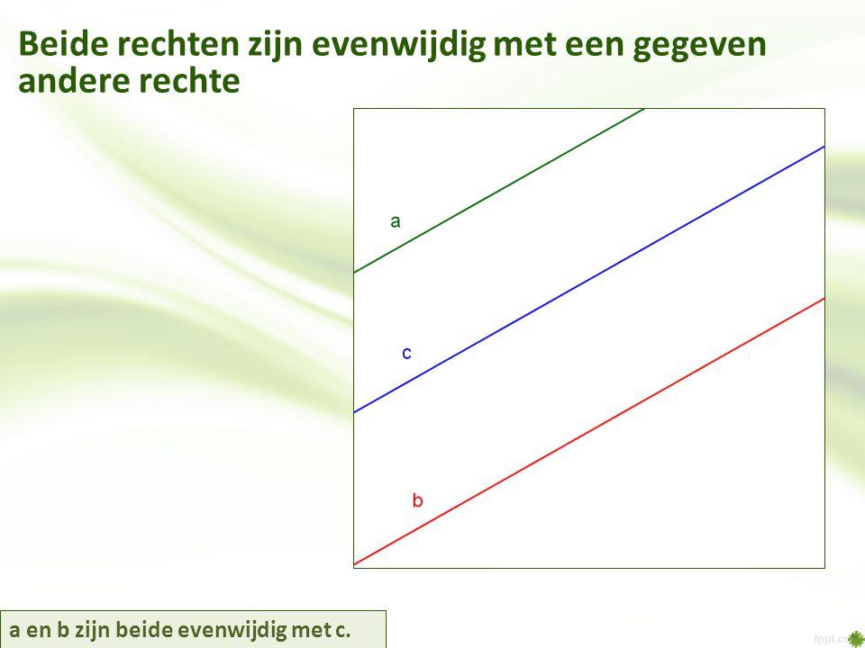 a en b zijn beide evenwijdig met c. Beide rechten zijn evenwijdig met een gegeven andere rechte