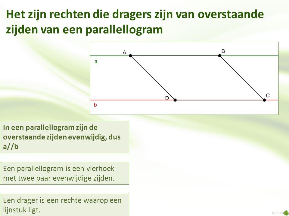 In een parallellogram zijn de overstaande zijden evenwijdig, dus a//b Een parallellogram is een vierhoek met twee paar evenwijdige zijden. Het zijn re