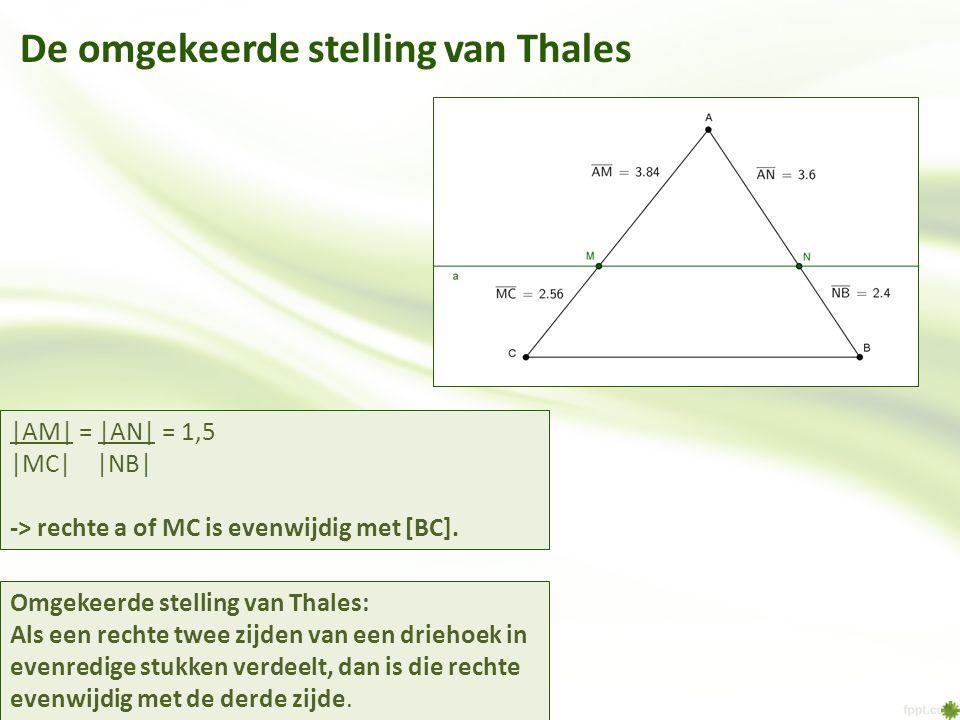 De omgekeerde stelling van Thales Omgekeerde stelling van Thales: Als een rechte twee zijden van een driehoek in evenredige stukken verdeelt, dan is d