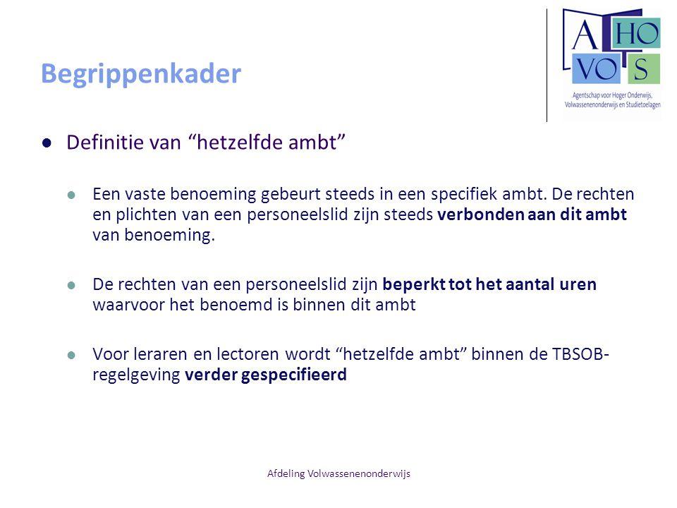 Afdeling Volwassenenonderwijs Redenen van TBSOB Professionaliseringstraject [art.
