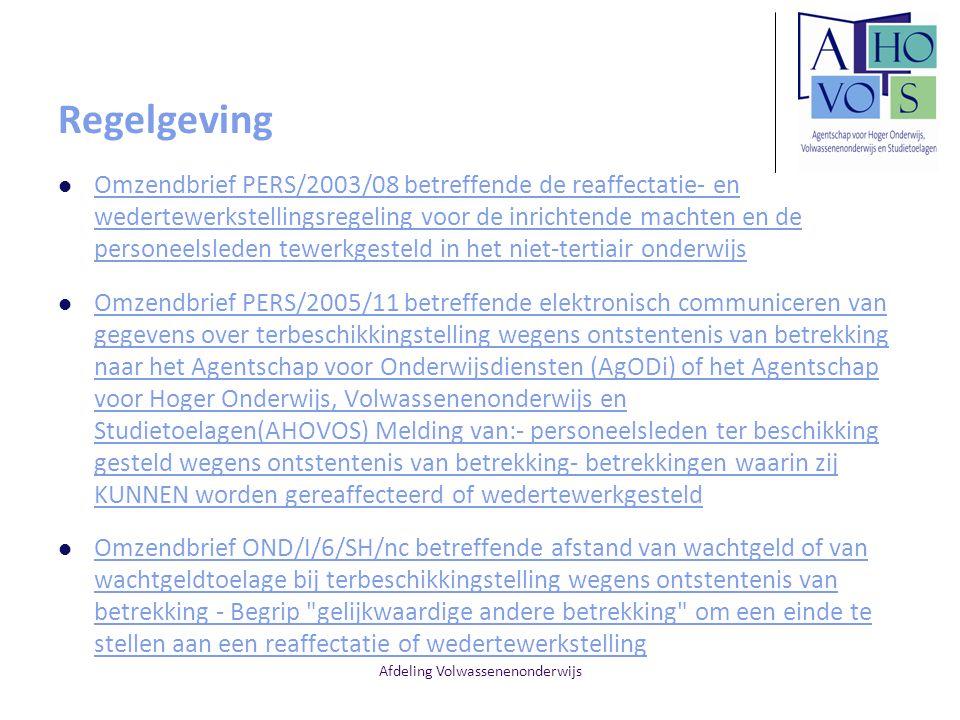 Afdeling Volwassenenonderwijs Regelgeving Omzendbrief PERS/2003/08 betreffende de reaffectatie- en wedertewerkstellingsregeling voor de inrichtende ma