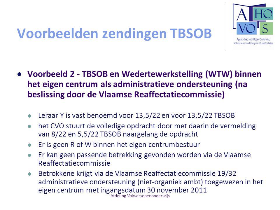 Voorbeelden zendingen TBSOB Voorbeeld 2 - TBSOB en Wedertewerkstelling (WTW) binnen het eigen centrum als administratieve ondersteuning (na beslissing