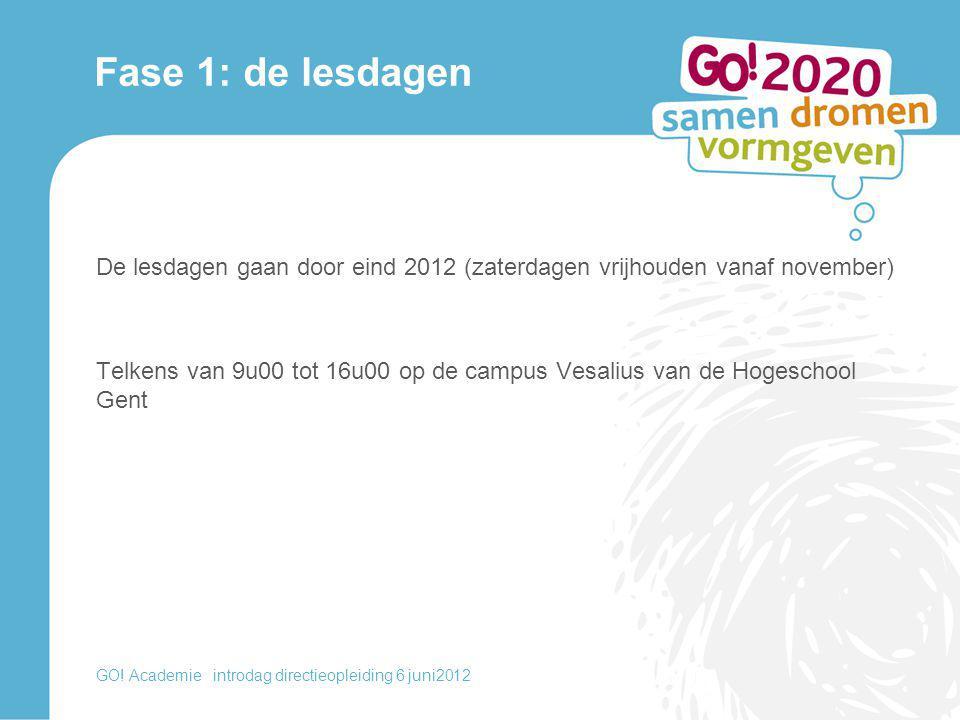 Fase 1: de lesdagen De lesdagen gaan door eind 2012 (zaterdagen vrijhouden vanaf november) Telkens van 9u00 tot 16u00 op de campus Vesalius van de Hog