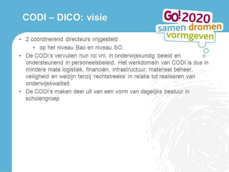 CODI – DICO: visie 2 coördinerend directeurs vrijgesteld op het niveau Bao en niveau SO. De CODI's vervullen hun rol vnl. in onderwijskundig beleid en