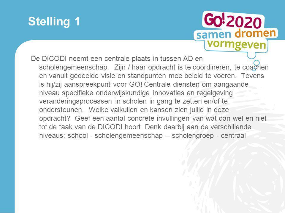 Stelling 1 De DICODI neemt een centrale plaats in tussen AD en scholengemeenschap. Zijn / haar opdracht is te coördineren, te coachen en vanuit gedeel