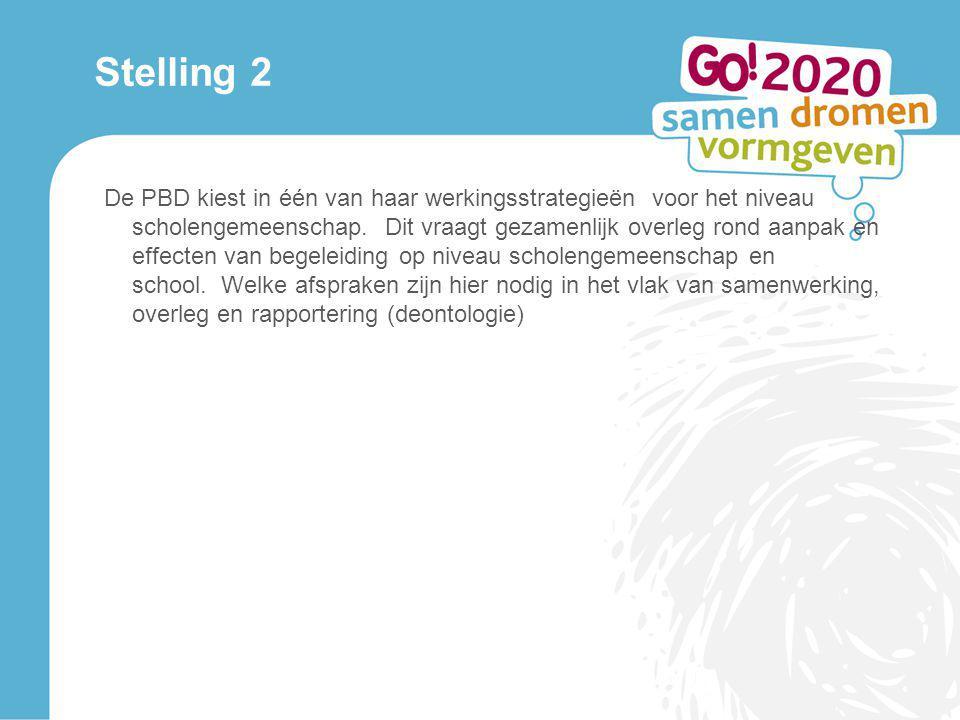Stelling 2 De PBD kiest in één van haar werkingsstrategieën voor het niveau scholengemeenschap. Dit vraagt gezamenlijk overleg rond aanpak en effecten
