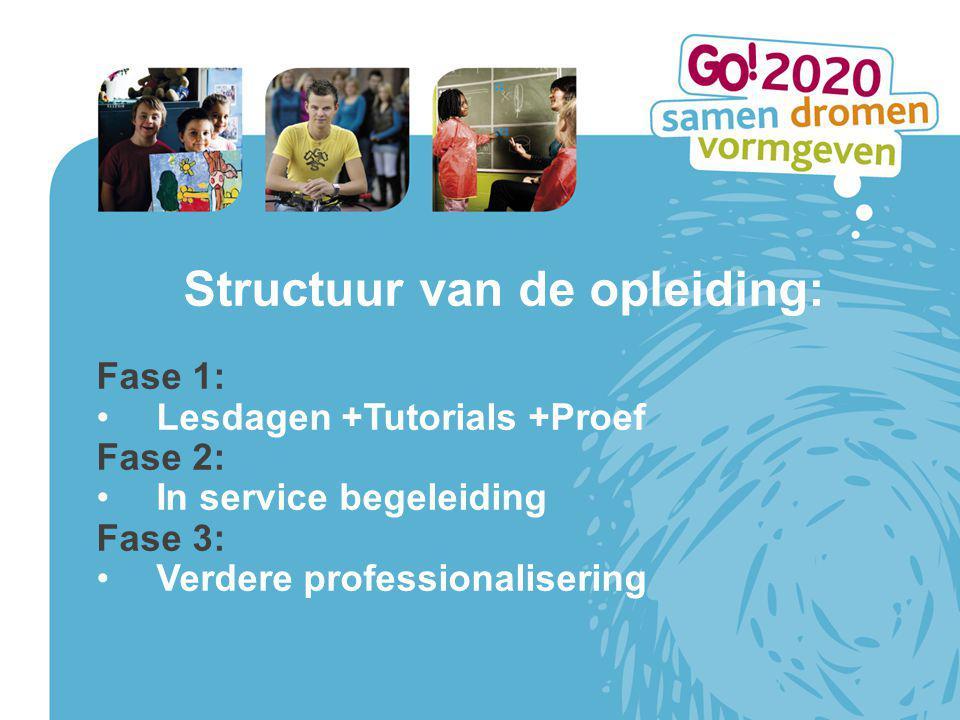 Structuur van de opleiding: Fase 1: Lesdagen +Tutorials +Proef Fase 2: In service begeleiding Fase 3: Verdere professionalisering