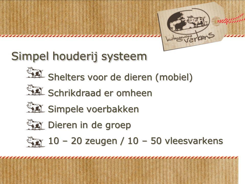 Simpel houderij systeem Shelters voor de dieren (mobiel) Schrikdraad er omheen Simpele voerbakken Dieren in de groep 10 – 20 zeugen / 10 – 50 vleesvar