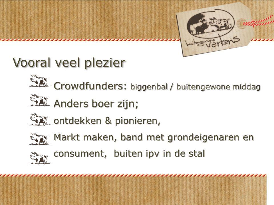 Vooral veel plezier Crowdfunders: biggenbal / buitengewone middag Anders boer zijn; ontdekken & pionieren, Markt maken, band met grondeigenaren en con