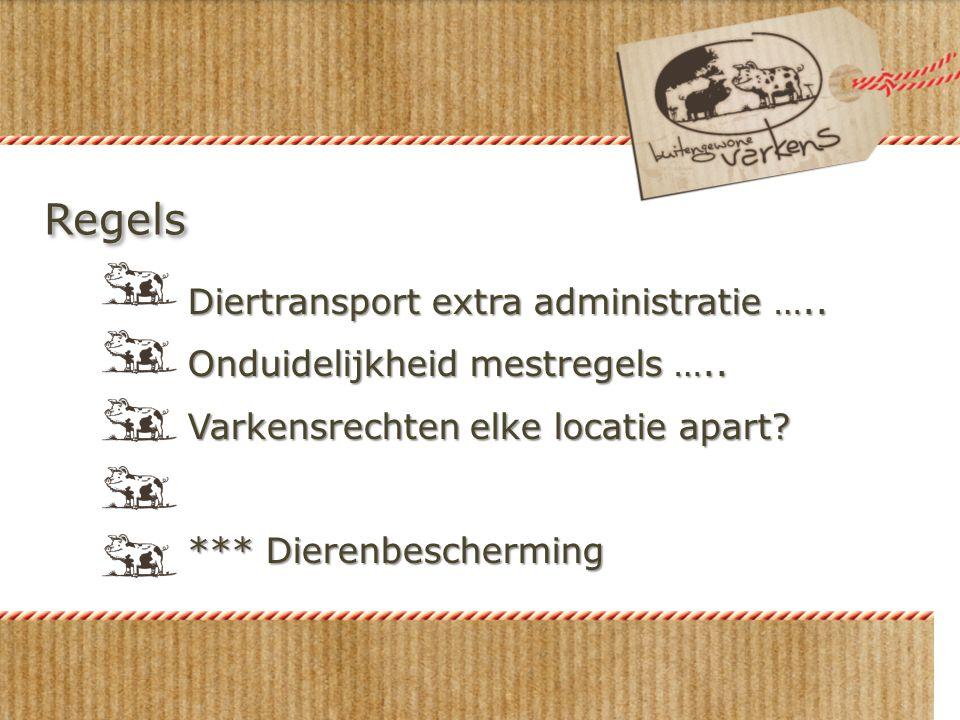 Regels Diertransport extra administratie ….. Onduidelijkheid mestregels ….. Varkensrechten elke locatie apart? *** Dierenbescherming