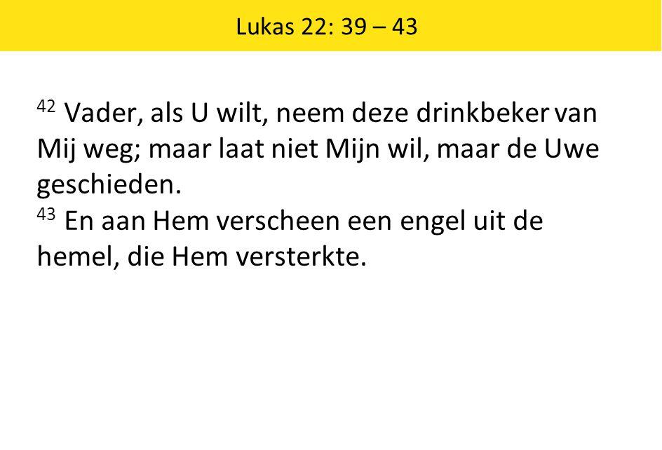 Lukas 22: 39 – 43 42 Vader, als U wilt, neem deze drinkbeker van Mij weg; maar laat niet Mijn wil, maar de Uwe geschieden.